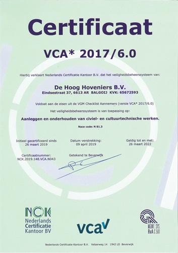 certificaat VCA De Hoog Hoveniers